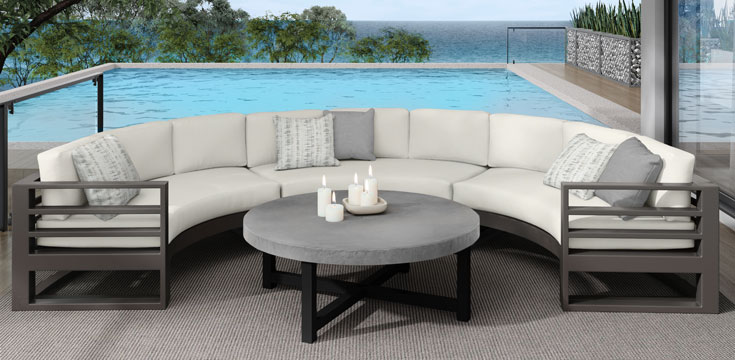 Ebel Aluminum curved sectional Palermo